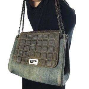 💎RARE💎Chanel denim accordion purse